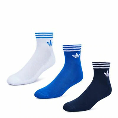 3 Pairs Mens Adidas Originals Navy/Blue/White Trefoil Ankle Socks 5.5-8 Sports