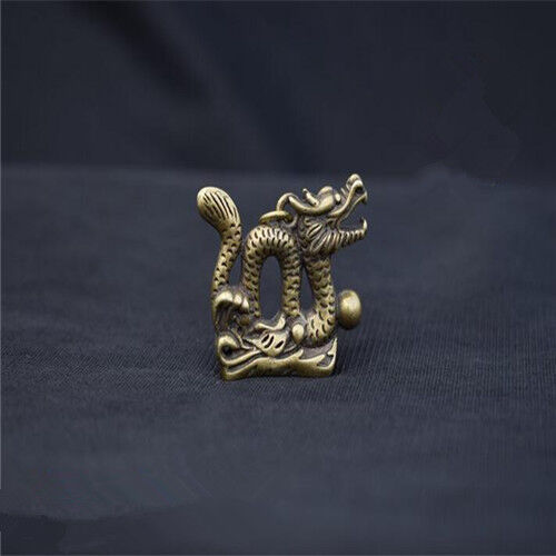Collection OLD Pure brass  hand carved  Dragon small statue pendant RT