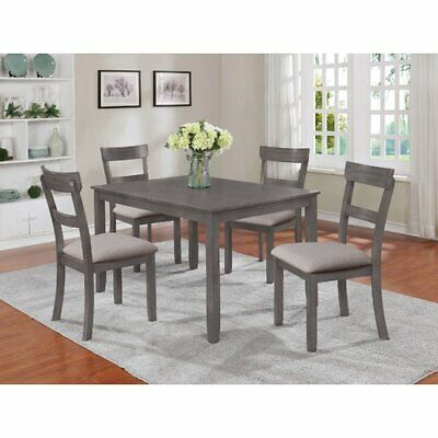 Dining Set 5-Piece Kitchen Table and Chairs Wooden Dinette Sets Grey Padded Seat