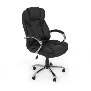 PU Leather High Back Executive Office Task Chair w/ Metal Base for Computer Desk