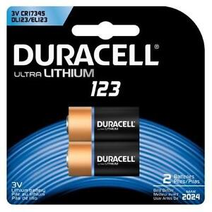 2 NEW DURACELL 123 BATTERIES 123 ULTRA LITHIUM - EXP. MARCH/2024 98892949