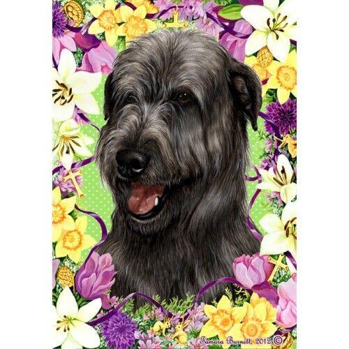 Easter House Flag - Black Irish Wolfhound 33164