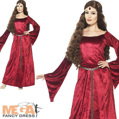 Red Medieval Maid Ladies Fancy Dress Princess Adults Marian Costume Outfit New](Maid Marian Outfit)