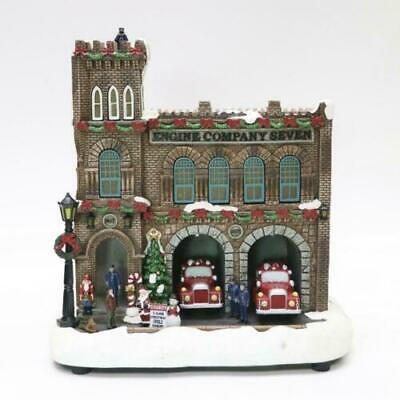 "11"" Animated Fire Station Fun Christmas Village Musical LED Lighted Building"