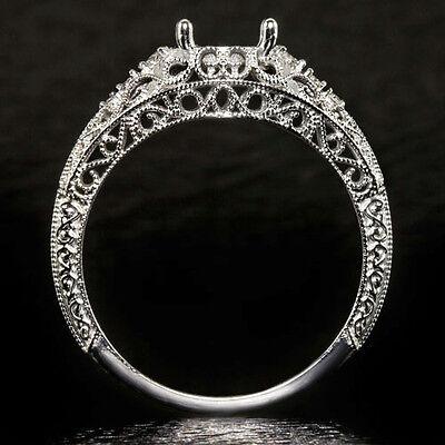 ANTIQUE DIAMOND ENGAGEMENT RING SETTING ART NOUVEAU FILIGREE SEMI-MOUNT