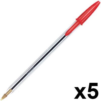 Promoción ~ BiC Cristal bolígrafos, sin presión mecánica, 5 unidades, rojo