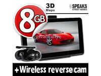 GPS Navigation System+Wireless Reverse Camera+8GB+EU UK POI Maps 7'' Truck & Car