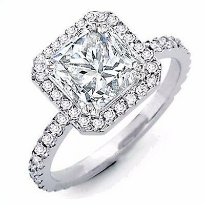 2.50 Ct Princess Cut Diamond Engagement Ring Halo I,VS2 GIA Certified