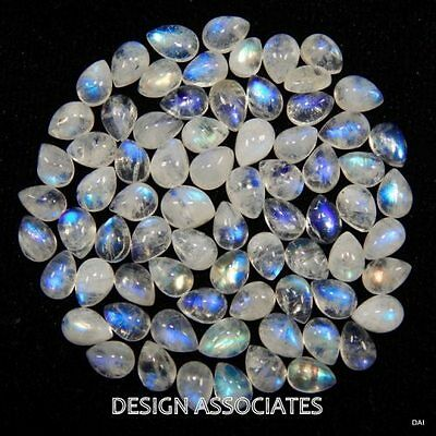 NATURAL WHITE MOONSTONE 6x4 MM PEAR CUT CALIBRATED COMMERCIAL 10 PC SET