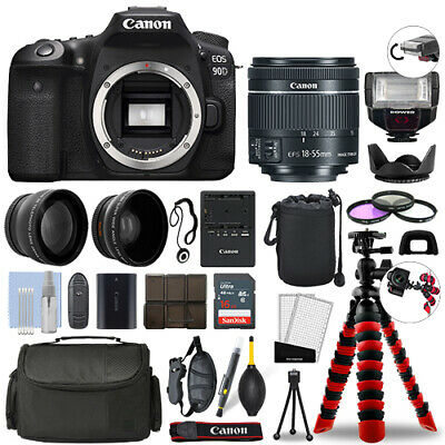 Canon EOS 90D DSLR Camera with 18-55mm STM+ 16GB 3 Lens Ultimate Accessory Kit