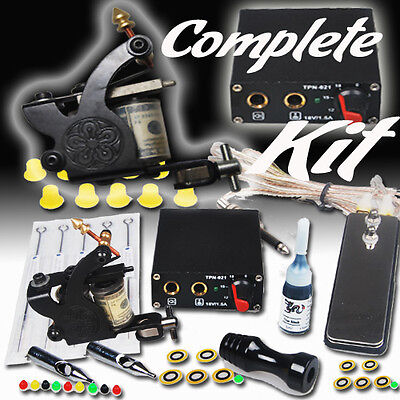 Complete Tattoo Kit Machines Color Inks Power Supply Shipping From USA MGT-18 on Rummage