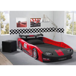 Twin Size Bed Turbo Race Car Red Sleek Kids Toddler Plastic Bedroom Furniture