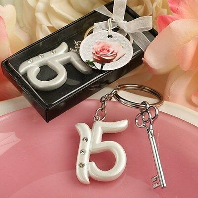 30 Mis Quince Quincineara Sweet 15th Birthday Charm Keychain Party Favors](Quince Party Favors)