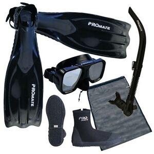 NEW-Scuba-Dive-Mask-Snorkel-Boots-Fins-Package-Gear-Set