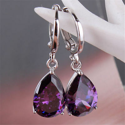 Charming 925 Silver Waterdrop Cut Amethyst Dangle Drop Earrings Wedding -