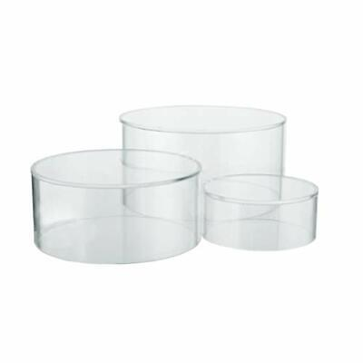 Set Of 3 Clear Acrylic Round Cylinder Display Riser Stands 3 2-14. 1-12 H