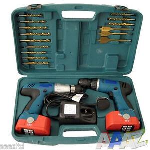 18v Twin 2 Cordless Hammer Drills Set Impact Drill Driver TWIN DRILL KIT