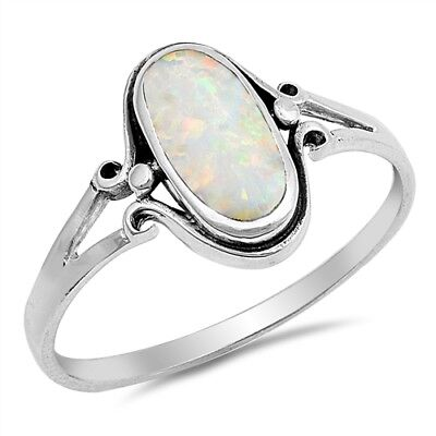 Sterling Silver Woman's White Opal Ring Simple Cute 925 Band Sizes 4-10 NEW