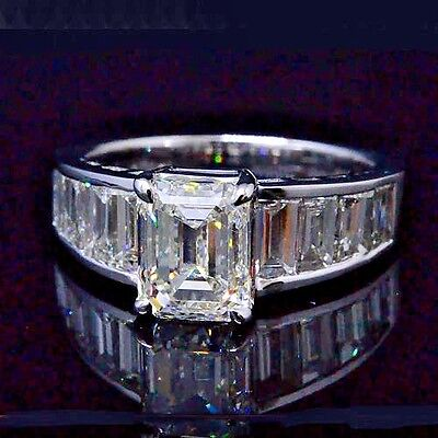 Platinum 5.00 Ct Emerald Cut & Baguette Diamond Engagement Ring I,VS1 GIA Cert