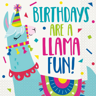 LLAMA BIRTHDAY LUNCH NAPKINS (16) ~ Party Supplies Serviettes Dinner Large - Llama Party
