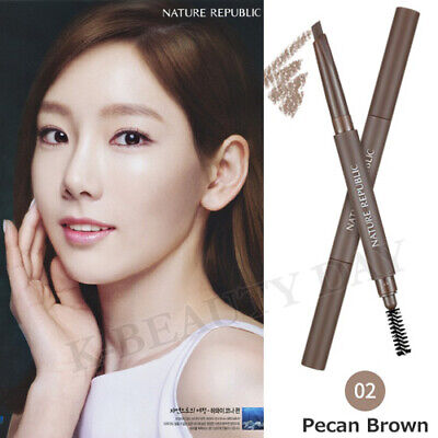 NATURE REPUBLIC By Flower Auto Eyebrow #2 Pecan Brown / Combination Liner+Brush