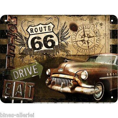 Blechschild - 15x20 cm - Route 66 Eat & Drive - Nostalgic Art Retro Vintage