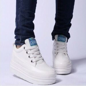 New-Fashion-Womens-school-Canvas-high-heel-Platform-Sneakers-Lace-up-shoes-208