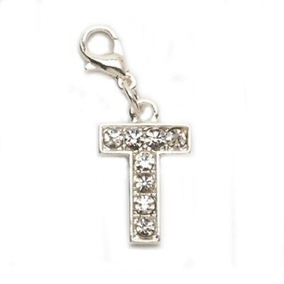 NEW LETTER T RHINESTONE CHARM LOBSTER CLASP FOR BRACELET PURSE COSTUME JEWELRY (Costumes Letter T)