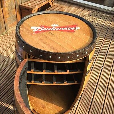 Solid Oak Whiskey Keg Budweiser Branded Barrel Drinks Cabinet Pub Patio Table for sale  Shipping to Ireland
