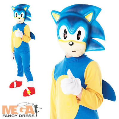 Sonic The Hedgehog Kids/Boys Fancy Dress Video Game Costume Child Ages 3-8 - Sonic The Hedgehog Boys Costume