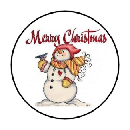"""48 MERRY CHRISTMAS SNOWMAN ENVELOPE SEALS LABELS STICKERS 1.2"""" ROUND"""