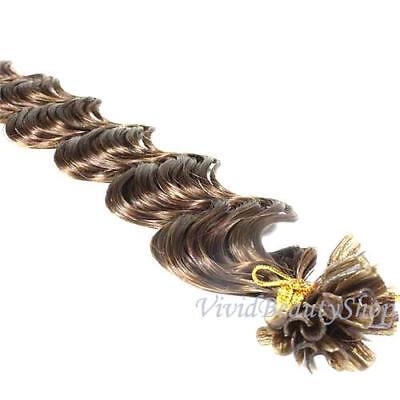 100 U Nail Tip Fusion Deep Wave Curly Remy Human Hair Extensions Medium Brown #4