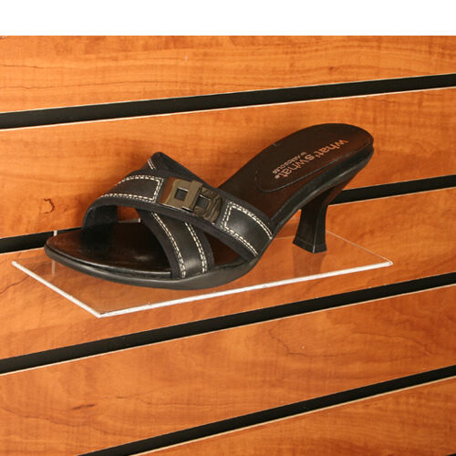 "100 Slatwall Shelves Shelf Shoe 4"" x 10"" Display Flat Styrene Clear Acrylic"
