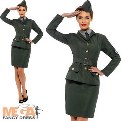 WW2 Army Girl Ladies Fancy Dress Military Soldier Uniform Womens Adults Costume](Ww2 Fancy Dress Costumes)