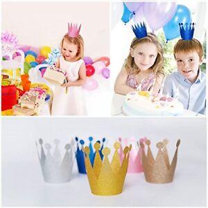 10 X Kids Children Birthday Party Paper Glitter Crowns Hat Set Decoration