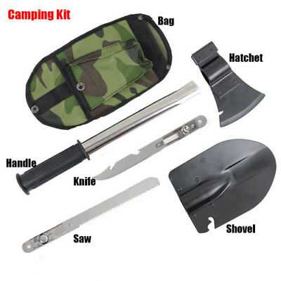 Ultimate Survival Emergency Camping Hiking Knife Shovel Axe Saw Gear Kit Tools