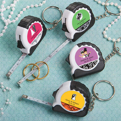 50-250 Personalized Key Chain / Measuring Tape - Wedding Shower Party Favors - Personalized Keychains Bulk