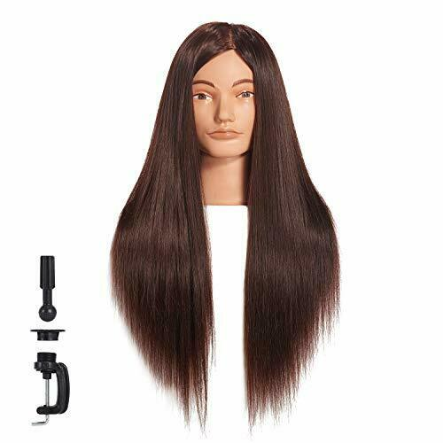 """new Cosmetology Mannequin Head 100% Human Hair Hairdresser Training Super Long"