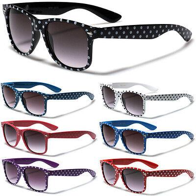 Polka Dot Retro Men Women Sunglasses Black White Red Flex Fit Glasses - Polka Dot Glasses
