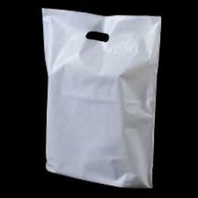 400 White Patch Handle Carrier Gift Retail Shopping Plastic Bags  15