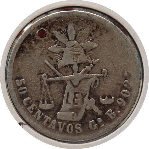 MEXICO -- 1884 50 CENTAVOS SILVER COIN