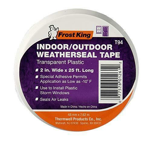 """Frost King T94H Plastic Weather-Seal Tape 2-Inch by 25-Feet, Clear, 2"""" X ft"""