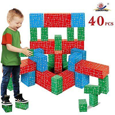 Cardboard Building Block 40pc Extra Thick Jumbo Giant Blocks in 3 Sizes for Kids - Jumbo Building Blocks