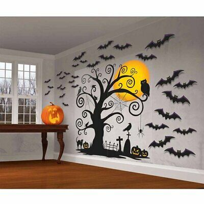 Halloween Background Animation (FRIENDLY WALL DECORATIONS Halloween Party Scene Setter Tree Cemetery Backdrop)