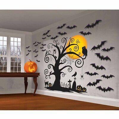Halloween Decorations Wall Scenes (FRIENDLY WALL DECORATIONS Halloween Party Scene Setter Tree Cemetery Backdrop)
