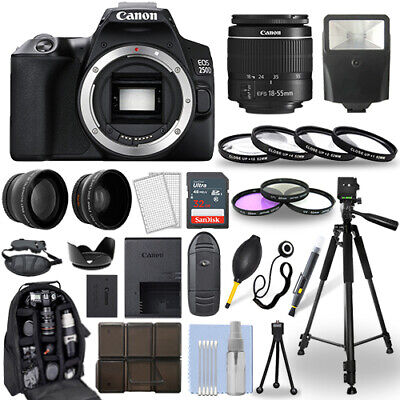 Canon EOS 250D / Rebel SL3 DSLR Camera + 18-55mm Lens+ 30 Piece Accessory Bundle