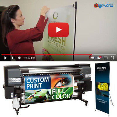 X Banner Stand Tripod Trade Show Display 24x63 Full Color Custom Vinyl Print
