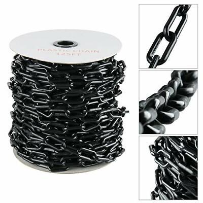 125 Ft Plastic Chain W For Crowd Control Safety Barrier Black