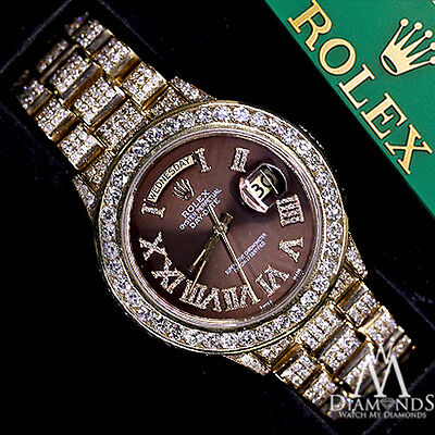 Presidential Rolex 18038 18k Yellow Gold Brown Roman Numeral Diamond Watch
