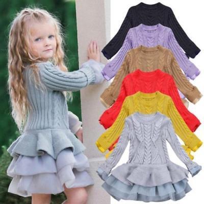 Toddler Kids Girls Knitted Sweater Winter Pullovers Crochet Tutu Dress ZG8 - Girls Dresses Winter